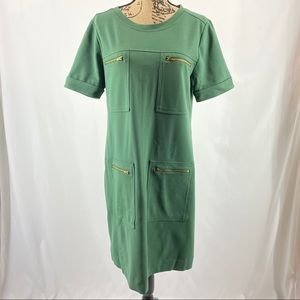 JCrew Green Ponte Zipper Shiftdress